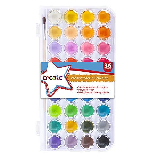 Create Watercolour Set - 36 Colours Watercolour Paint Set, Portable Travel...