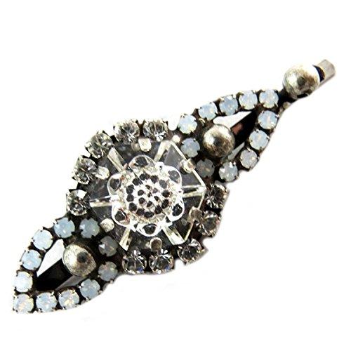 Lily-Crystal [P9800] - Barrette artisanale 'Mythique Syracuse' blanc argenté - 50x18 mm