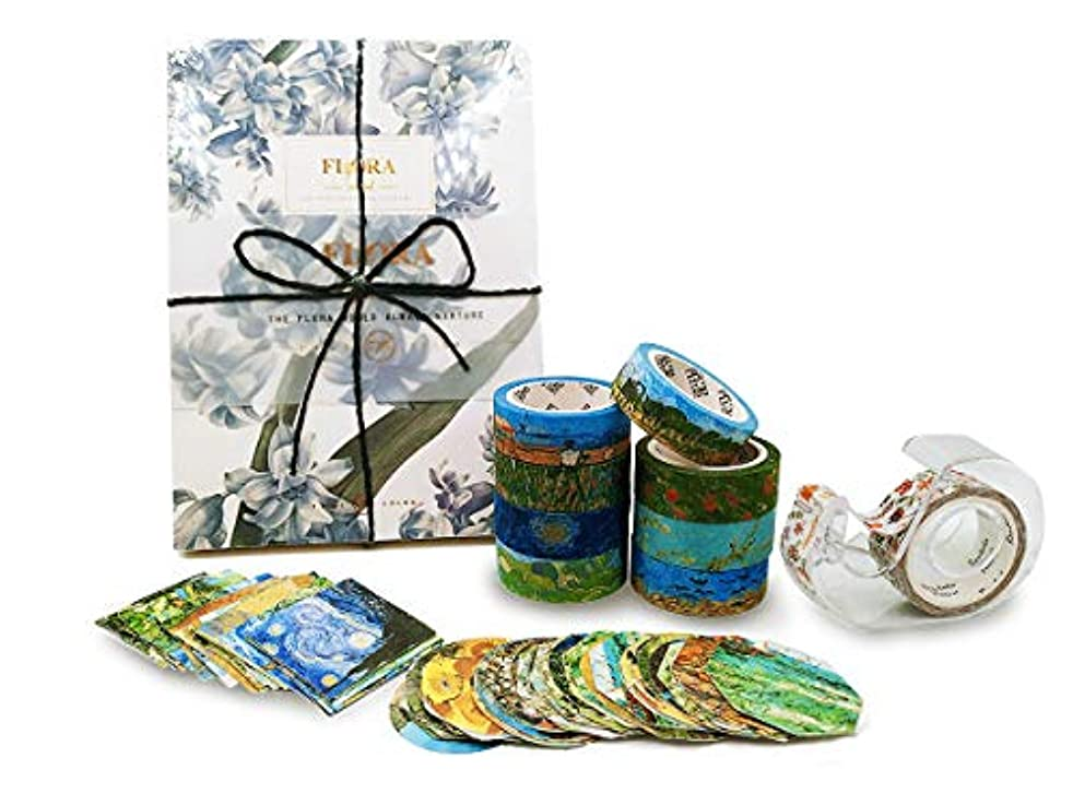 FYT Van Gogh Inspired Washi Masking Tape Set, Stickers,Tape Dispenser and Hand-Painted Notebook, Paintings Series Supplies for DIY Crafts,Gift Wrapping, Scrapbooking, Bullet Journal, Planners.