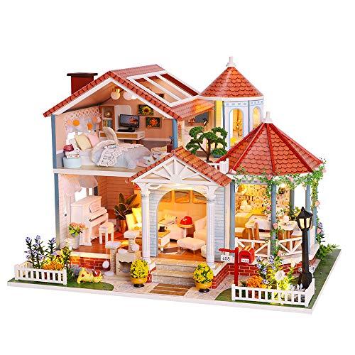 DIY ドールハウスミニチュアキット 家具付き 3D木製ミニチュアハウス ミニチュアドールハウスキット L2001