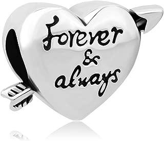 Forever and Always Arrow Through a Heart Charm Beads for European Bracelet