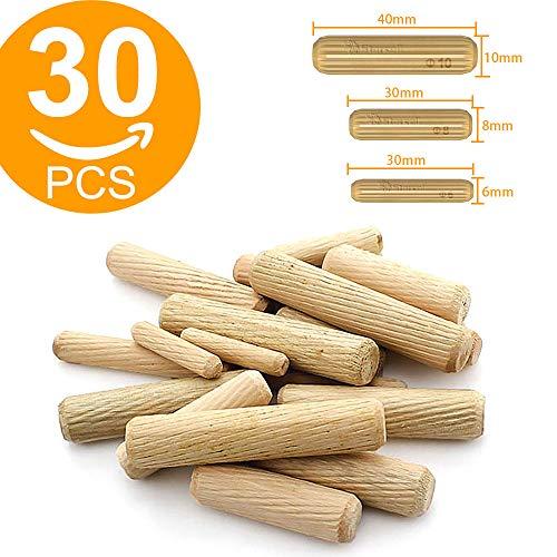 Starcell 30 unidades de tacos de madera surtidos M6 M8 M10 de madera dura para muebles, madera ranurada, estriados, 6 mm, 8 mm, 10 mm