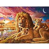 Fablcrew - Kit completo per pittura 5D con diamanti finti, trapano, cristallo, rotondo, strass, ricamo, quadri, decorazione per la casa, motivo: leone, 40 x 30 cm