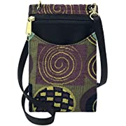 Danny K Women's Tapestry Crossbody Cell Phone or Passport Purse, Handmade in USA