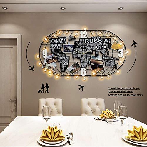 JSMY Actualice los Relojes de Pared silenciosos Mapa Grande del Mundo Decoración 3D Decoración del hogar Regalo Oficina en casa Negro