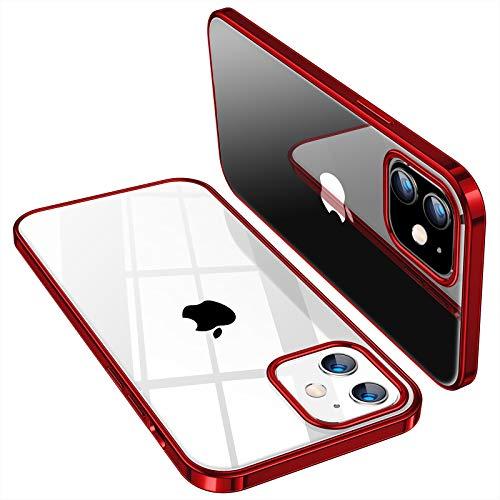 TORRAS iPhone 12 mini 用 ケース 透明 ソフトTPU 薄型 軽量 赤いメッキ加工 10倍黄変防止 耐衝撃 SGS認証 クリア レンズ保護 5.4インチ アイフォン12 mini 用カバー レッド Shiny Series