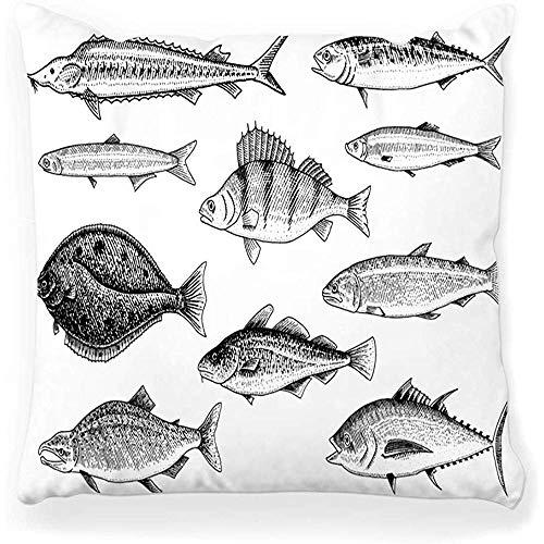 SSHELEY kussensloop River lak vis zalm regenboogforel tonijn haring zeewater karper aquarium zeevruchten menu gegraveerd