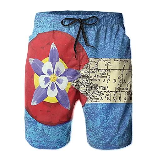 Olverz Pantalones cortos de playa para hombres bandera de Colorado púrpura floral transpirable trajes de baño casual traje de baño