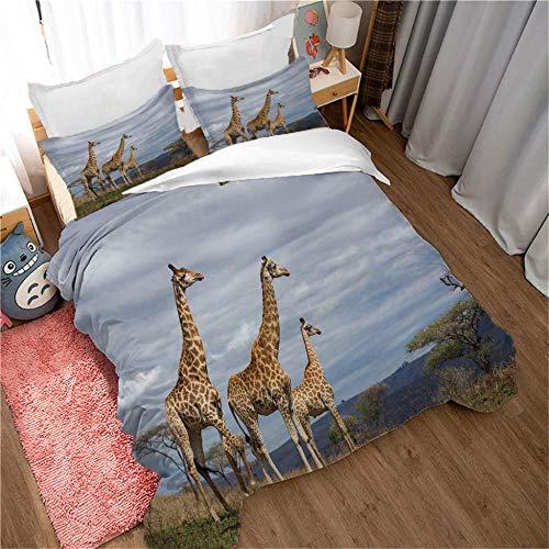 SFALHX Housse de Couette Girafe des prairies 140x200cm Bedding Parure de Lit en 100% Polyester 3D Patterned Housse de Couette avec Taies Oreiller