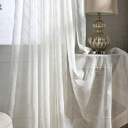 Tine Home Rideaux et Rideaux Voilage Blanc à Rayures Broderie Polyester pour fenêtres traitements Produit Fini Salon œillets en Haut Un Panneau, 1pc(200 * 270 cm)