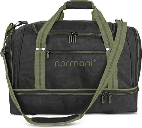 normani Sporttasche 58 Liter - Fitnesstasche - Reisetasche mit großem Schuhfach und Nassfach für Damen und Herren   55 cm x 30 cm x 36 cm Farbe Oliv