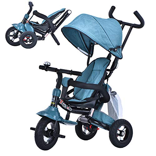 6-in-1 Toddler Tricycle with Adjustable Canopy, Detachable Guardrail, Harness, Folding Footrest, Brake, Folding Push Baby Tricycle for 1 2 3 Years Old