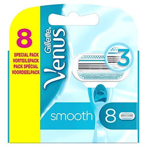 Gillette Venus Smooth Ersatzklingen Für Frauen x8 Mit 3 Sich Der Körperkontur Anpassenden Klingen