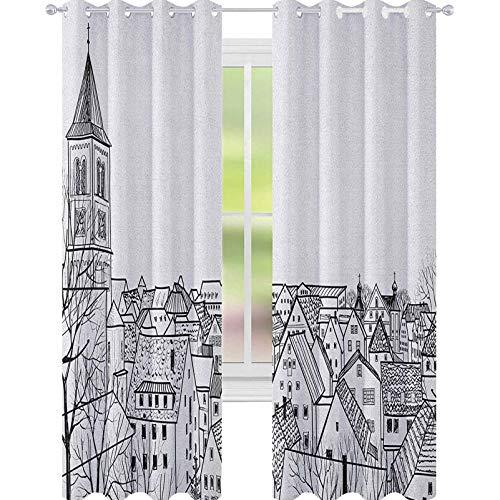 YUAZHOQI Cortina de ventana de paisaje urbano estilo bosquejo en la azotea vista de la ciudad, estilo de vida urbano cortinas monocromáticas para dormitorio de niñas 132 x 213 cm, color negro y blanco