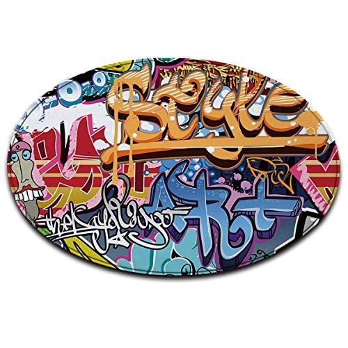 Graffiti Bleu Blanc Rouge Anti-dérapant Lavable en Machine Espace Rond Tapis Salon Chambre à Coucher Salle de Bain Cuisine Doux Tapis Tapis de Sol Décoration intérieure 120x120 CM