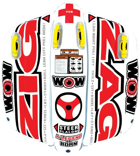 WOW World of Watersports Zig Zag 1 or 2 Person Inflatable Towable Steerable Tube for Boating, 12-1050