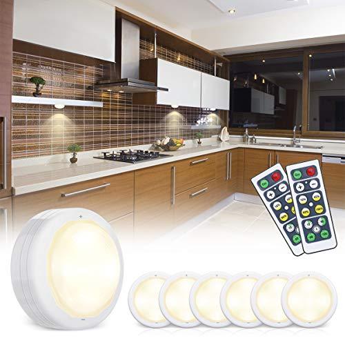 Elfeland Schrankbeleuchtung Led SchranklichtSpot Unterbauleuchte Schrankleuchten Nachtlicht mit Fernbedienung Timing-Funktion Batteriebetrieben für Küche Schrank Gang 4000K Dimmbar 6er Set