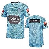 YAQA Langholton - Polo de entrenamiento de rugby, azul, Large-X-Large