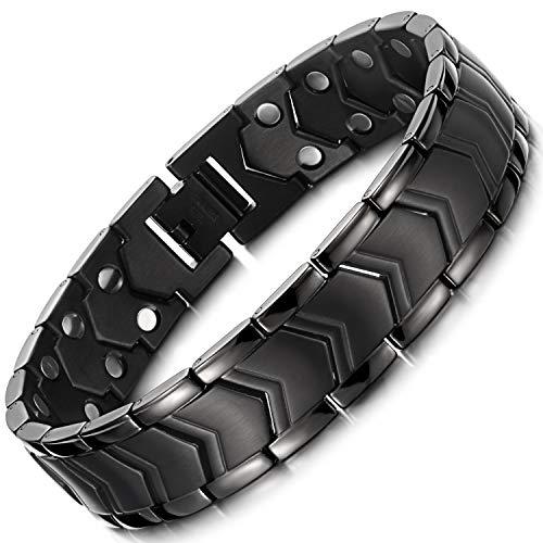 RainSo Herren Titanstahl Schwarz Magnetfeld-Armband, kann Arthritis Schmerzen lindern, ein exklusives Geschenk für den Vatertag, High-End-Komfort
