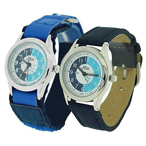 2 X Relda Time Teacher Blue Easy Fasten & Buckle Kid Boy Watch Gift Set + Award