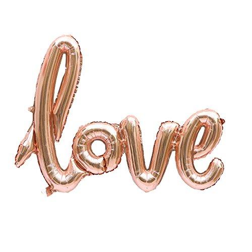 TRIXES Palloncino in Carta stagnola Color Oro Rosa per Anniversario Matrimonio San Valentino Feste Calligrafia corsiva