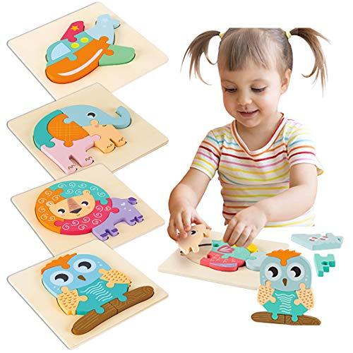 Rompecabezas de ladrillos de juguete, rompecabezas para bebés, ensamblaje de bloques de construcción en 3D, rompecabezas de calidad para educación temprana, para niños y niñas de 2 a 4 años, 4 piezas
