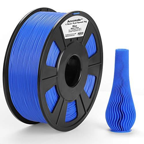 ACCCREATE Filamento PLA 1,75mm, Filamento Stampante 3D Diametro di tolleranza +/- 0,02 mm, 1KG Bobina (2.2lbs) Materiali filamenti per FDM Stampante 3D, Blu