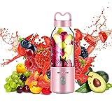 Mini Batidora Portátil para Fruta, Smoothies, Milkshake, Batidos y Picadora de Frutas, Fácil de Limpiar, 500ml sin BPA y Limpieza Fácil, Recargable Juice Blender para Condición física y salud, Rosado
