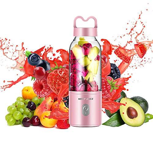 Mini Batidora Portátil para Fruta, Smoothies, Milkshake, Batidos y Picadora de Frutas, Fácil de Limpiar, 500ml sin BPA y Limpieza Fácil, Recargable Juice Blender para Condición física y salud,