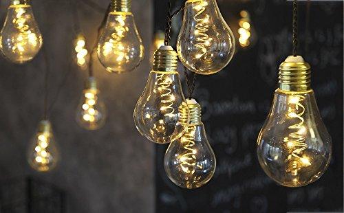 netproshop LED Lichterkette Glühbirne aus Glas Retro Design 10 Lichter Indoor