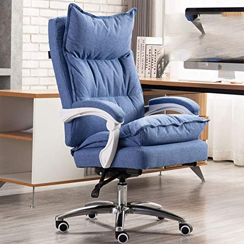 Silla de Juego Silla de Oficina High Back Computer PU Cuero Música Música Silla Silla Ajustable Backrest -11706J5L9B (Color : Blue+Foot Rest)