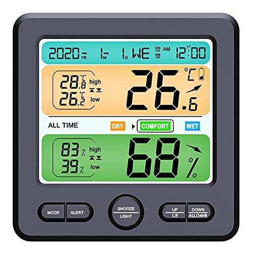 Termómetro Interior Hygrómetro De Alta Precisión Con Pantalla Lcd Pantalla Digital Reloj De Alarma Termómetro Interior Calibrador Preciso Hygrómetro Pantalla Lcd