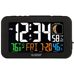 Atomic self-setting time and date with automatic Daylight saving time reset USB charging port for mobile devices (charge cable not included) Indoor temperature & humidity with trend arrows Adjustable backlight settings Moon phase icons