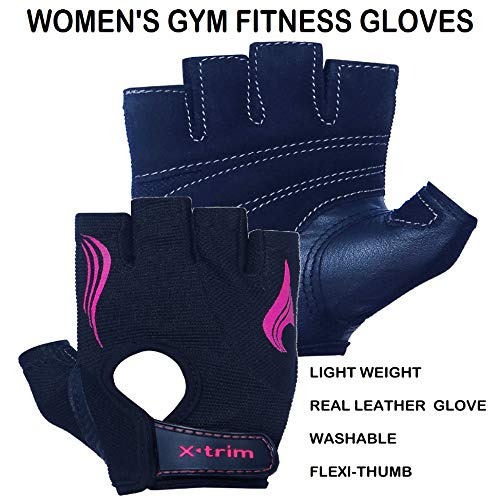 XTRIM – Flair for Women-Leather Fitness Gym Training Gloves - Washable Real Leather-for Weight Lifting, Gym Work Out, Fitness Training, Palm Protection & Comfort (Black, Small)