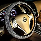 Carwales Bling Bling Women Steering Wheel Cover for car, 15 Inch Universal White Crystal Rhinestone Diamond Bling Accessories Anti-Slip Wheel Protector