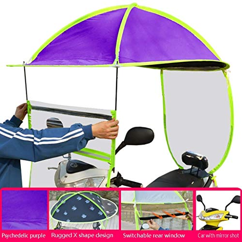 Qazxsw General Scooter windshield, battery motorcycle sunscreen and rainproof shed, electric car sunshade, scooter windshield, suitable for electric vehicles with rearview mirrors