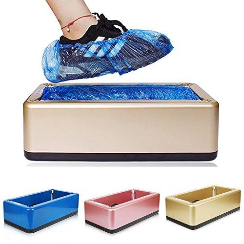 Cenblue Máquina automática de cubierta de zapatos para oficina en casa - Fibra de carbono ABS Material Steel Shell Frame Shoe Cover Dispensador (rosa)