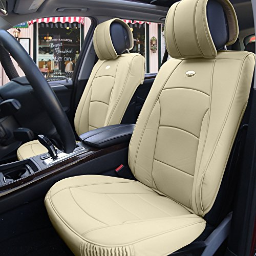 FH Group PU205102 Ultra Comfort Highest Grade Faux Leather Seat Cushions (Beige) Front Set – Universal Fit for Cars Trucks & SUVs