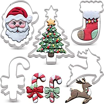 LILIAO Christmas Cookie Cutter Set - 6 Piece - Christmas Tree with Star Santa Face Gingerbread Man Reindeer Candy Cane with Bow and Stocking Biscuit Fondant Sandwich Cutters - Stainless Steel