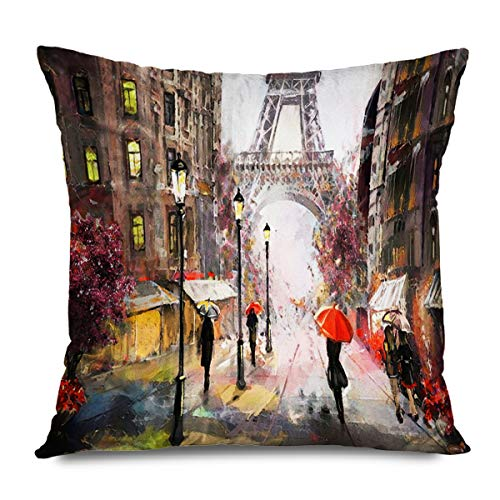 CHARLLR Throw Pillow Cover 16x16 Inch Oil Painting Black Red Eiffel Tower Lover Couple Umbrella European City Hungary Street Night Moon Big Ben Decorative Pillowcase for Sofa Couch Bedroom Living Room