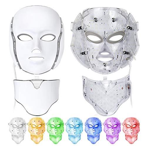 LED máscaras, 7 color Mascara led facial Light Therapy LED máscara Photon Cara y Cuello, terapia de rejuvenecimiento de la piel para el cuidado de la piel facial, antienvejecimiento