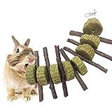Ogquaton Jouet à mâcher pour gâteau de foin en bâton d'herbe en bois pour la santé de lapin de lapin de hamster très pratique et populaire