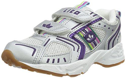 Lico Silverstar V Mädchen Multisport Indoor Schuhe, Weiß/ Silber/ Lila, 36 EU