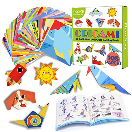 hapray Color Origami Paper for Kids, Origami Kit, 118 Sheets 6 Inch Double Sided Origami with 54 Projects, 55 Pages Guiding Origami Book, for Craft Lessons, Beginners, Children Gift