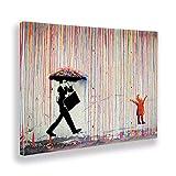 Giallobus - Pintura - Banksy - Pioggia di Colori - Tela Canvas - 100x70