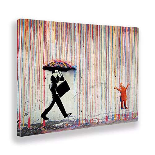 Giallobus - Quadro - Stampa su Tela Canvas - Banksy - Pioggia Colori - 50 X 70 Cm