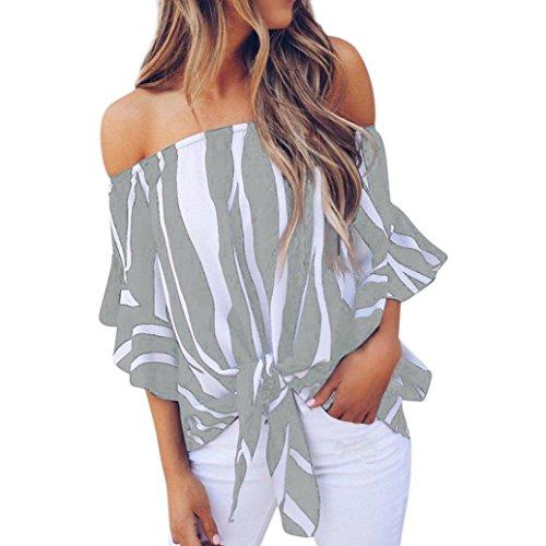 ESAILQ Damen Lose Asymmetrisch Sweatshirt Pullover Bluse Oberteile Oversized Tops T-Shirt(S,Grau)