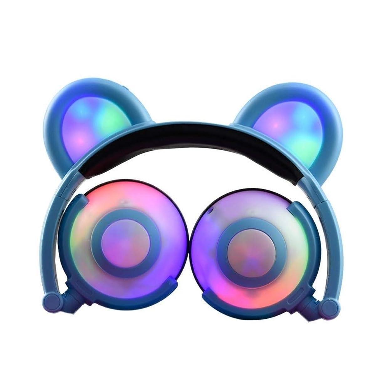 ドットトライアスリートでMXYNN 猫耳キッズヘッドフォン点滅輝くコスプレファンシー猫耳ヘッドフォン折りたたみオーバーイヤーゲームヘッドセットイヤホン付きledフラッシュライト用女の子男の子電話タブレット