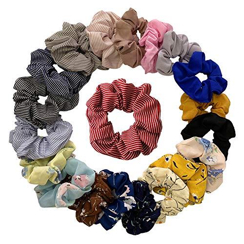 Scrunchies, 20 stuks vrouwen chiffon elastische haarelastiekjes paardenstaart haarband, bonte meisjes haarsieraden, verschillende kleuren