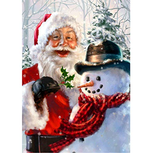 MXJSUA 5D DIY Diamond Painting Kit by Number Full Drill Round Beads Crystal Picture Supplies Wall Sticker Decor 30x40cm Santa Claus and Snowman
